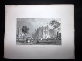 After Allom 1846 Antique Print. Lancaster Castle